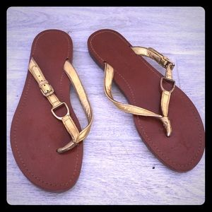 Ralph Lauren Collection Size 8 Gold thong Sandal